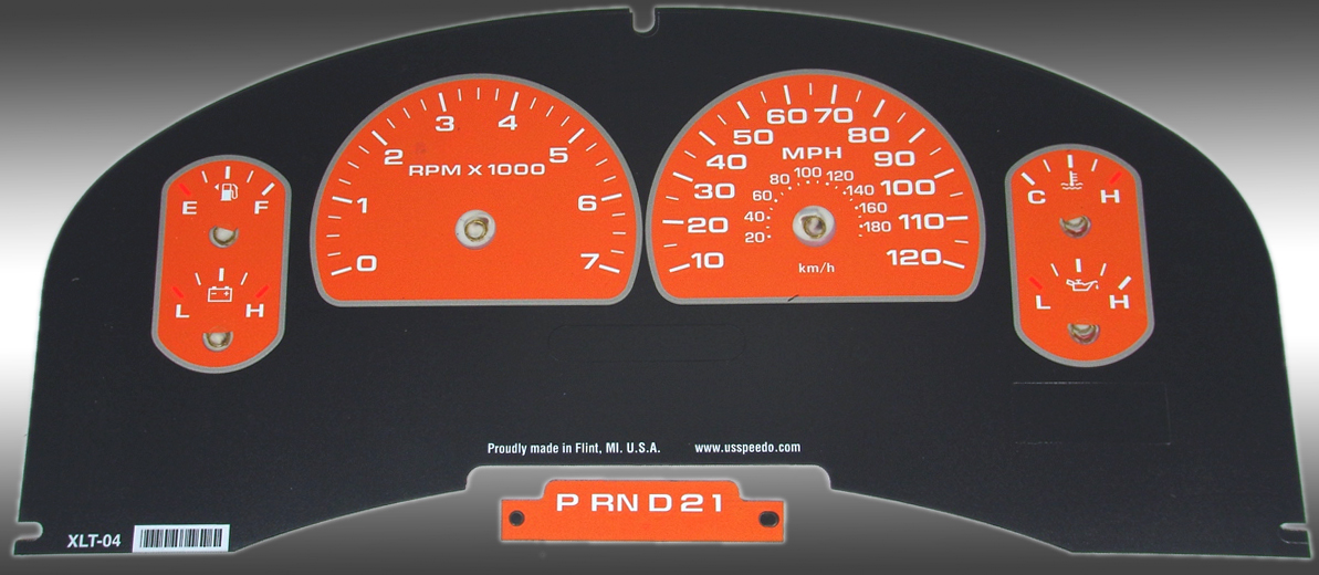 Ford F150 2007-2008 Xlt Only Orange / Green Night Performance Dash Gauges
