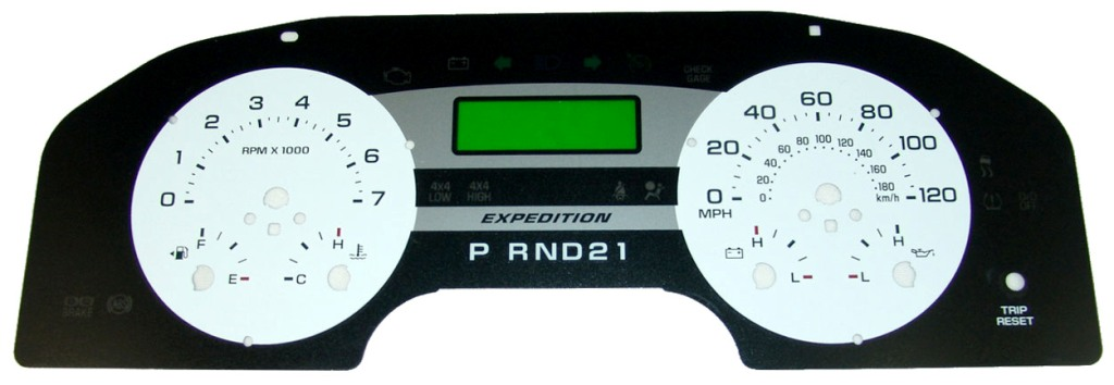Ford Expedition 2005-2006  White / Green Night Performance Dash Gauges